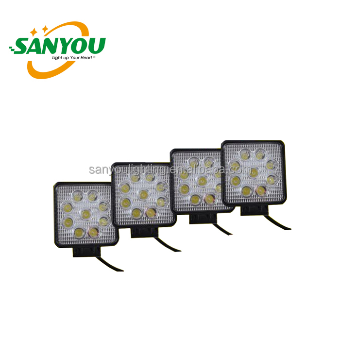 2017 hot sale square 27W led work light for jeep truck 1600lm led cob work lamp