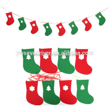 christmas decorations different styles felt non woven christmas flags for party home decoration - Different Christmas Decorations