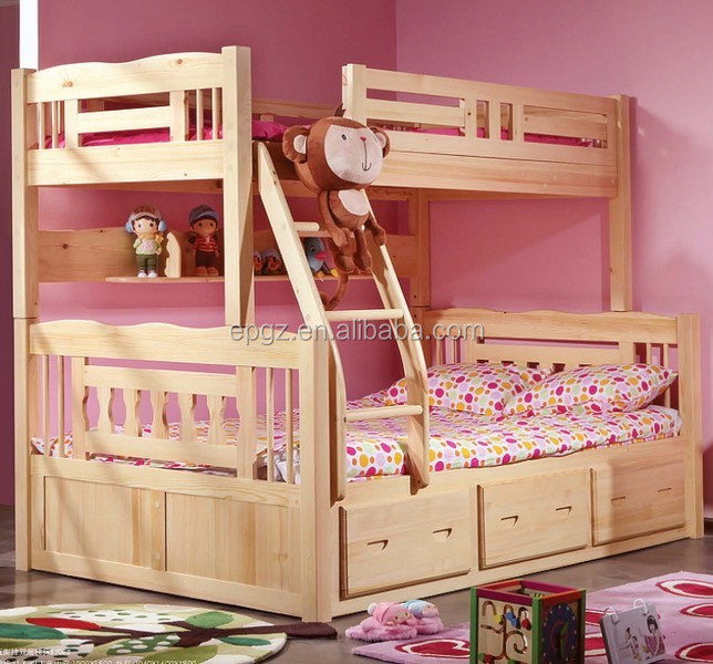 Barato de madera ni os litera escalera para loft cama - Doble cama para ninos ...