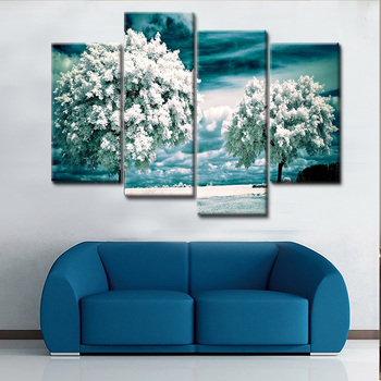 4 Piece Set Canvas Art Four Season Tree HD Paintings Decorations For Home Wall