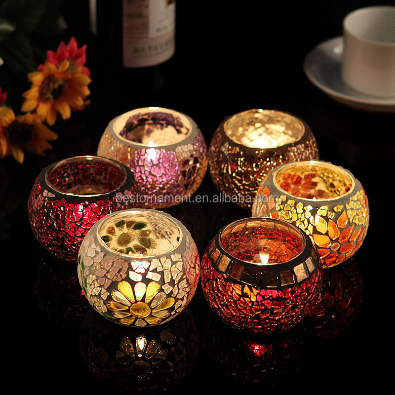 Mosaic Gl Tea Light Candle Holder