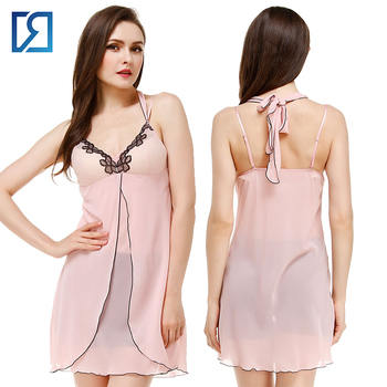 1f0868e8b9 Sexy Nighty Design Night Gown Ladies Chiffon Mini Babydoll Nighties ...