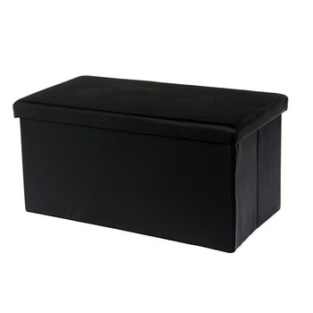 Black color PU leather foldable storage ottoman stool