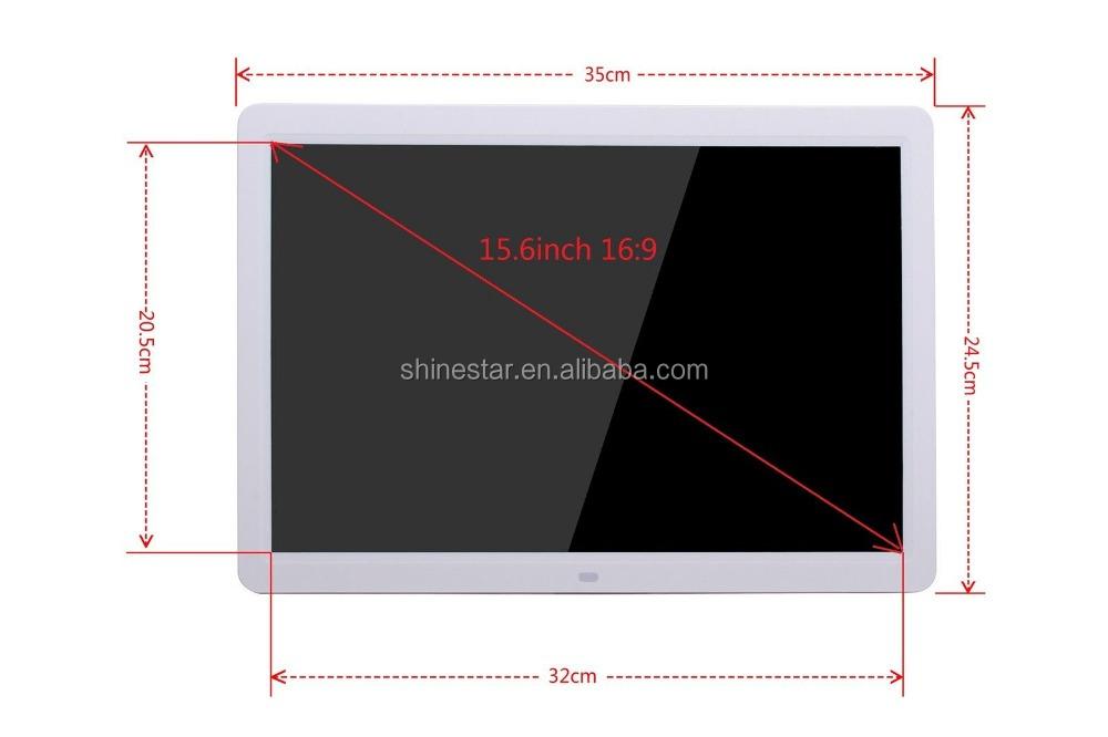 15 \'\'TFT-LCD 16:9 marco de fotos digital calendario despertador MP3 ...
