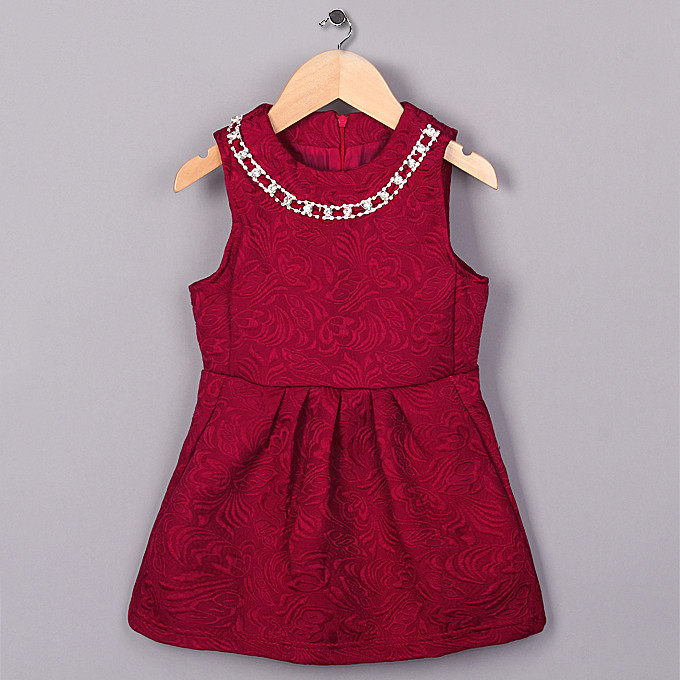 New Hot Sale Party Girl Dresses Red Classics Little Lady Cotton Vestido Child Clothing Baby Dress Kids Clothes GD41007-15