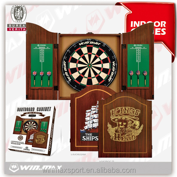 "18""MDF Cabinet dartboard with 6 darts, dart game,wooden round wire dartboard"