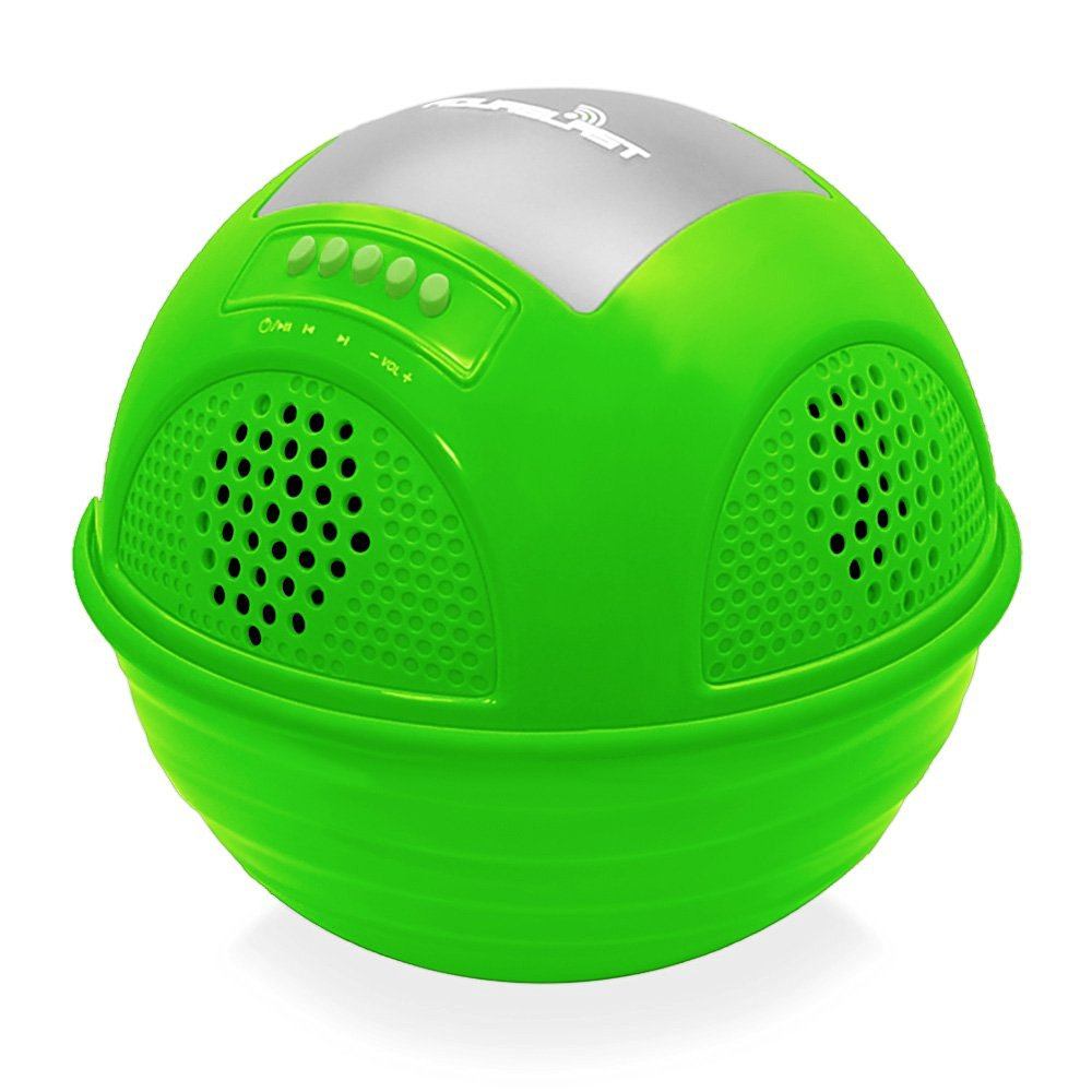 Pyle PWR90DGN Aqua Blast Waterproof Bluetooth Floating Pool Speaker System with Built-In Rechargeable Battery and Wireless Music Streaming