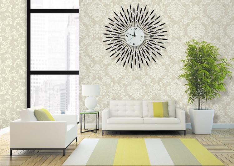 Large Diamond Luxury Living Room Wall Clock Wrought Iron