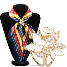 Fashion Butterfly Jewelry Scarf with Diamond Alloy Enamel Scarf Buckle Ring Clip for Women