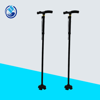 LH-A39 Portable Black LED Four-Folded Cane/Walking Stick With Anti-Shedding Rope