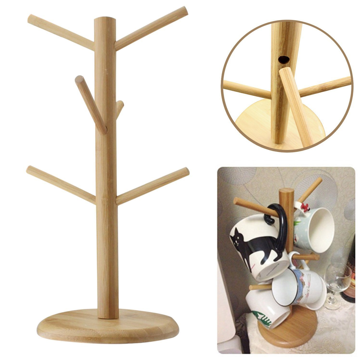 Get Quotations · Santwo Wood Stand 6 Hooks Mug Holder Tree Wood Mug Rack Coffee Tee Cup Holder Stand  sc 1 st  Shopping Guide - Alibaba & Cheap Mug Plate Holder Rack find Mug Plate Holder Rack deals on ...