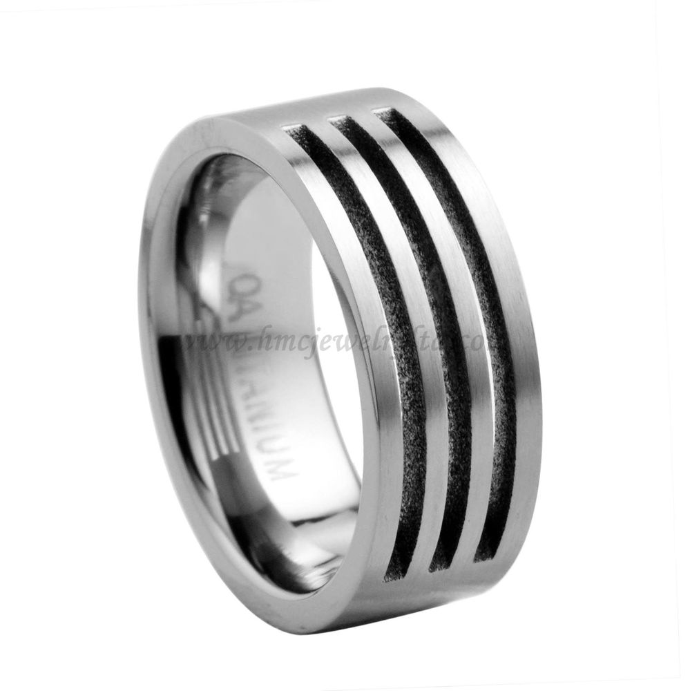 Make Fashion Mens Jewelry Rings Grooved Titanium Rings