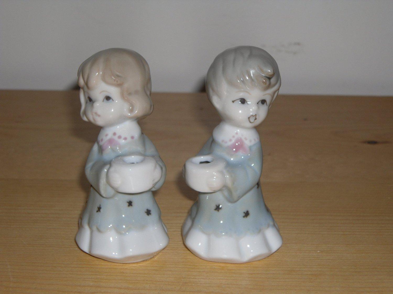 Porcelain Little Boy & Girl Miniature Candle Holder Caroller Figurines