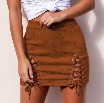 Womens Sexy High Waist Leather Vintage Lace Up Bodycon Faux Suede Split Tight Mini Skirt