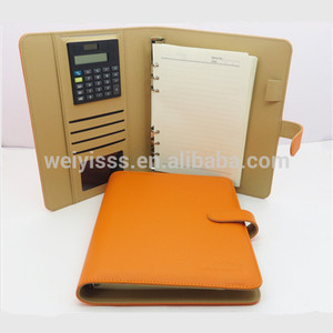 Factory 6 rings binder a5 pu leather notebook with calculator
