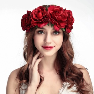 Rose Holiday Crown Festival Headbands Hippie Flower Headpiece