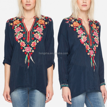1572069d8f7420 Pretty Boho Clothing Floral Blossom Rayon Embroidery Designs Fat Ladies  Tops Blouse HST5972