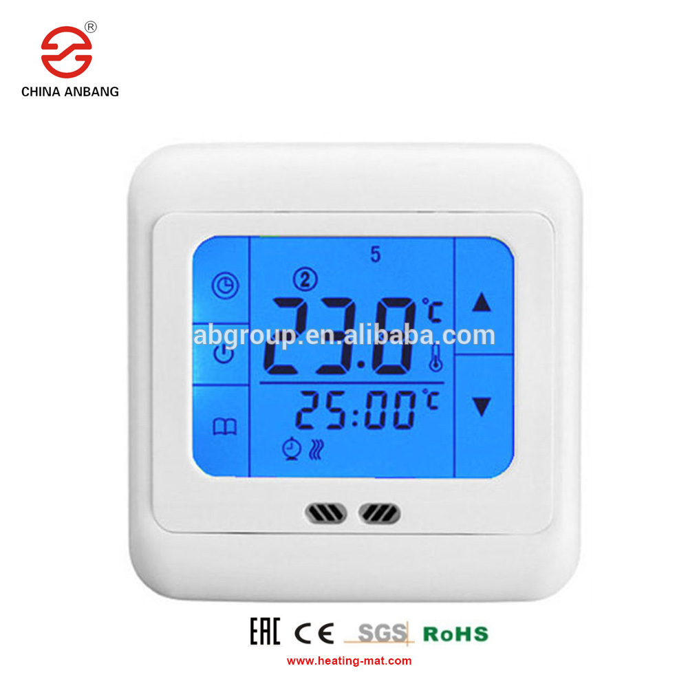 Radiant floor heating system temperature controller with large touch screen