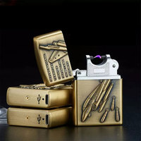 Environmental electronic cigarette lighter USB charging lighter metal thin windproof lighters wholesale pulse arc