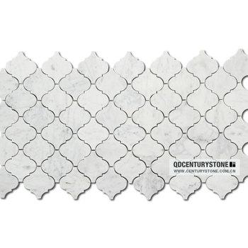 lantern shape mosaic tile bianco white carrara marble arabesque tile