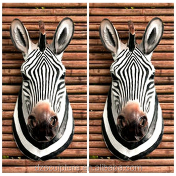Resin Horse Life Size Zebra Head Statue For Home And Hotel Wall ...