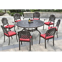 Wholesale Cast metal aluminum frame garden arm chair and table Outdoor furniture dining set