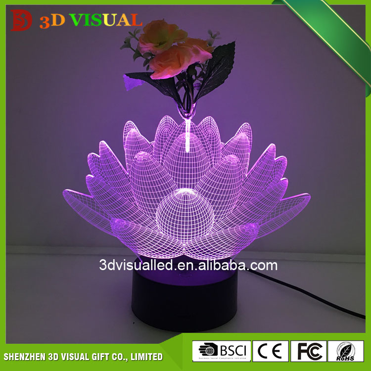 Good Price 3D led illusion lamp with flower table light home decorate light
