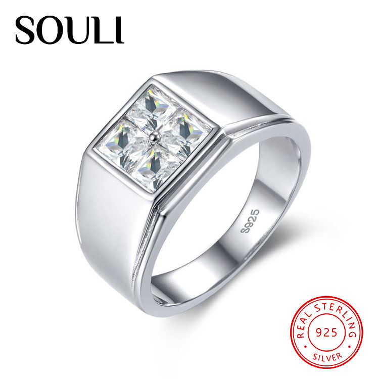 Customized Luxurious Gemstone Men Ring, Solid S925 Sterling Silver Zircon Rings Jewelry