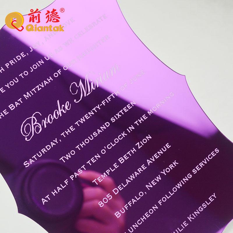 Tarjeta de invitación de boda acrílica de corte láser personalizada de lujo de Grado Superior 2019