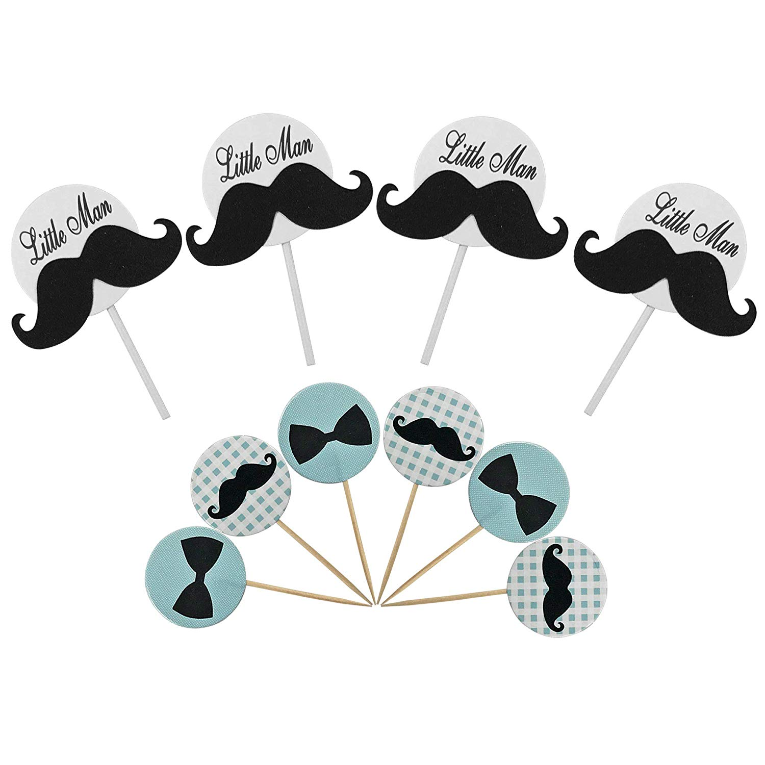 Little Man Mustache Bowtie Cake Cupcake Toppers Picks for Wedding Birthday Baby Shower Kids' Party Decorations 28 PCS