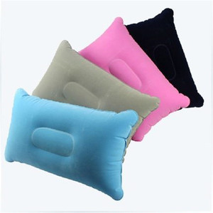 Small inflatable rectangle travel pillow, inflatable flock travel pillow