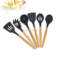 6-Piece Silicone Kitchen Cooking Utensils With Bamboo Handle Of Cooking utensils
