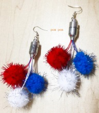 4th of july party supplies pom pom pedant led flashing earrings
