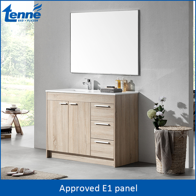 OEM Service Available Plywood Used Bathroom Vanity Cabinets, Modern Bathroom  Furniture With Glass Countertop
