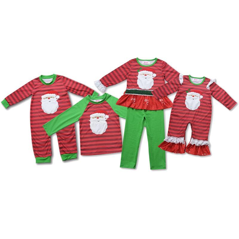 Pohon Natal Bordiran Anak Perempuan Merah Garis Celana Set Piyama Anak Jatuh Set Bayi Butik