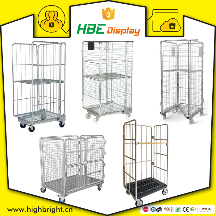 supermarket warehouse logistics storage nesting steel wire mesh roll cage container for sale