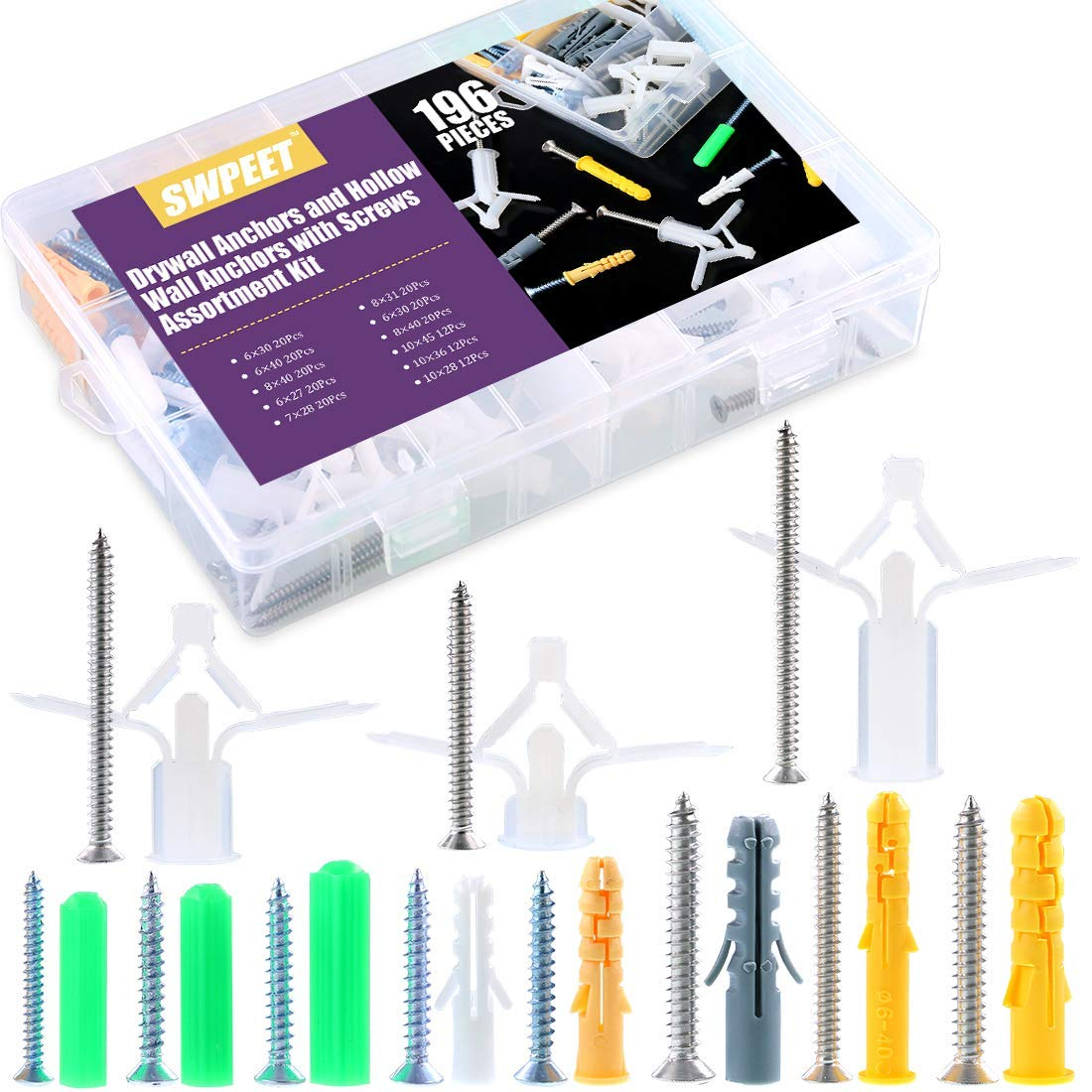 Swpeet 196Pcs Assorted Sizes Hollow Drywall Anchors Kit, Plastic Self Drilling Drywall Ribbed Anchors Assortment with Screws Perfect for Fixing Curtains, Calligraphy, Wall Cabinets, Lamps