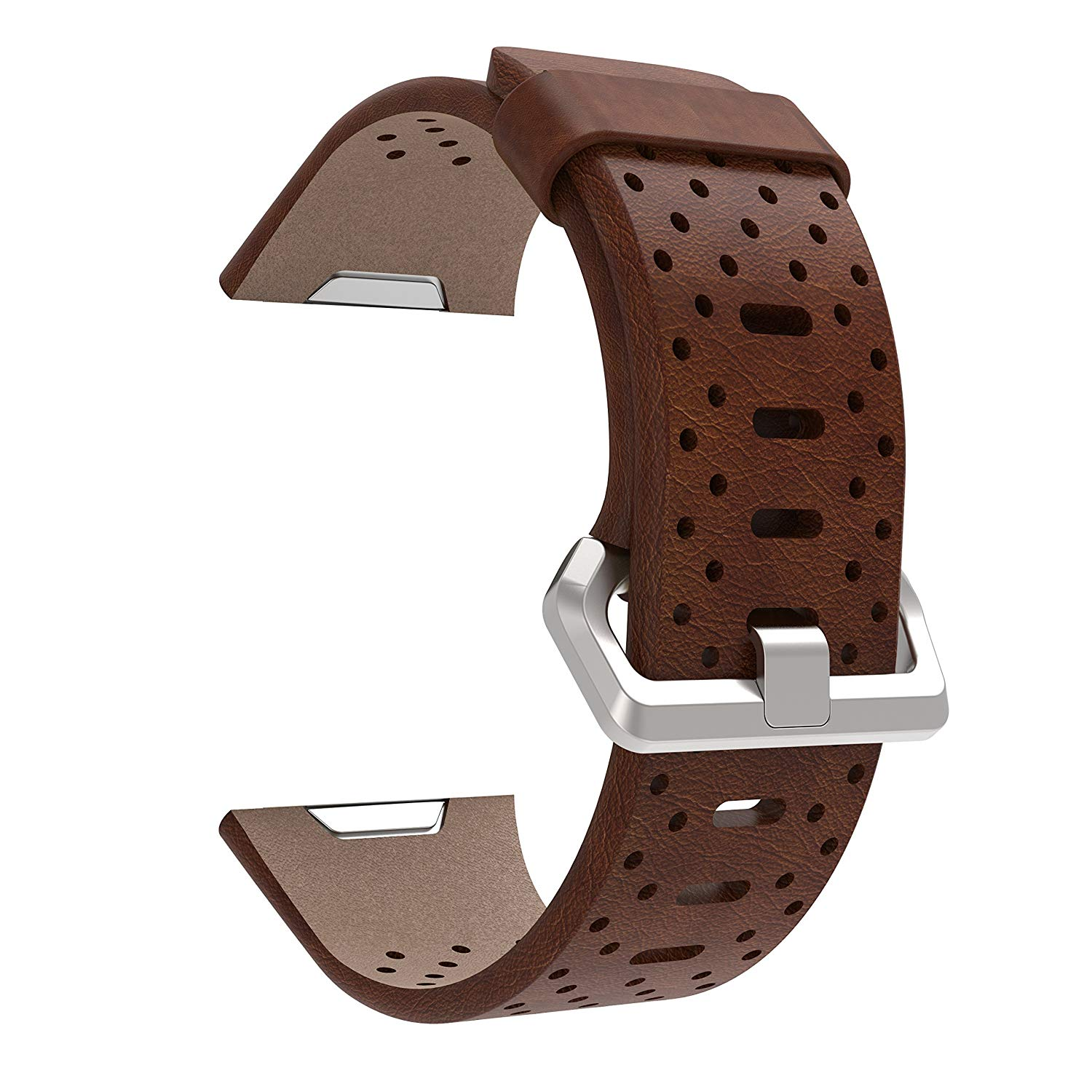 For Fitbit Ionic Watch Band,Genuine Leather Replacement Accessories Wrist Straps for Fitbit Ionic Smart Fitness Watch(Brown)