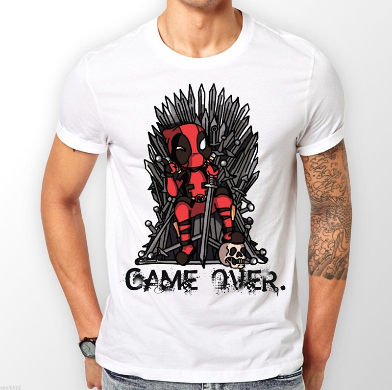 ada36b958e4 Deadpool vs Game of Thrones Custom T Shirt Man Harajuku Short Sleeve ...