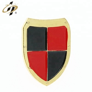 Promotional shield shape metal custom lapel pins with butterfly clasp