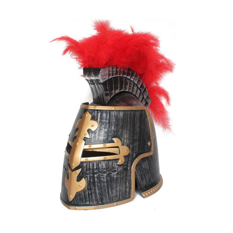 Medieval knight helmet medieval knight hat costume helmet with feather