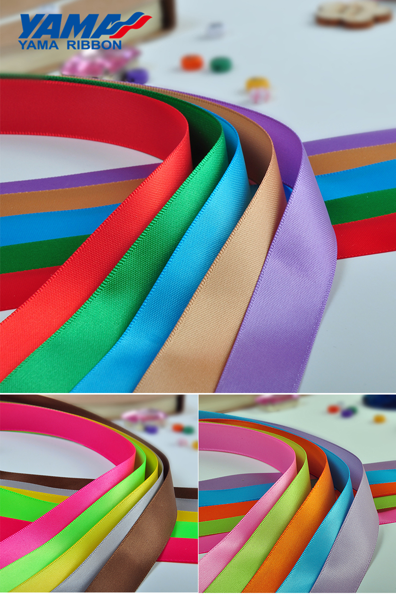 YAMA factory OEM polyester satin grosgrain custom solid color ribbon with logo printed