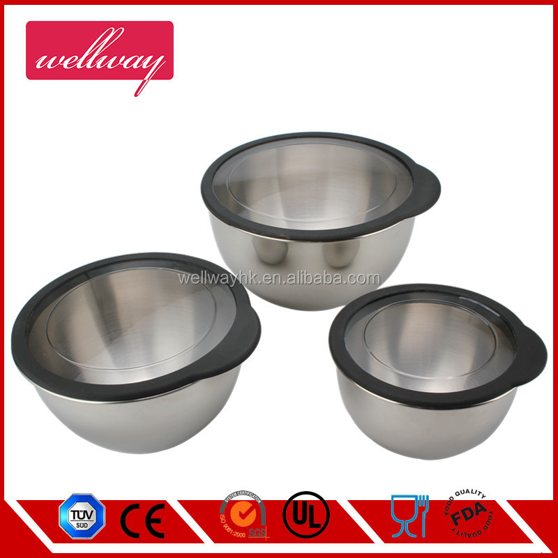 STAINLESS STEEL 3-PIECE SERVING BOWLS SET, SILVER (METAL)