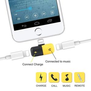 2 in 1 3.5mm Audio Headphone 8Pin Charger Splitter For iPhone 7 Adapter