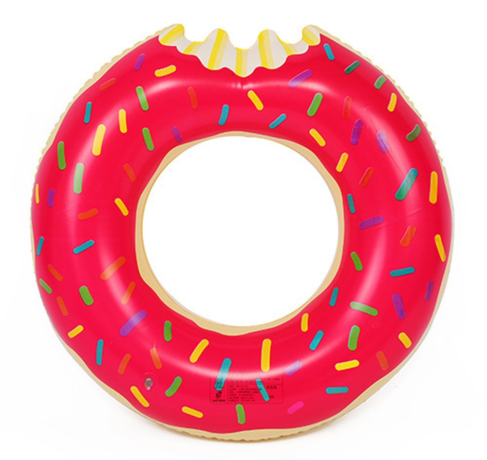 Geekercity Donut Pool Float - Inflatable Donut Floating Pool Toy with Rainbow Sprinkles - Outer Diameter 80cm/31.5 Inch - Inner Diameter 36cm/14.17 Inch