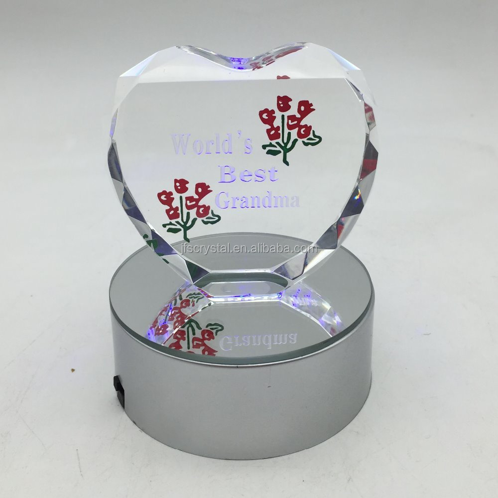 Wedding Favors Crystal Heart Gift Paperweight With Led Light Base
