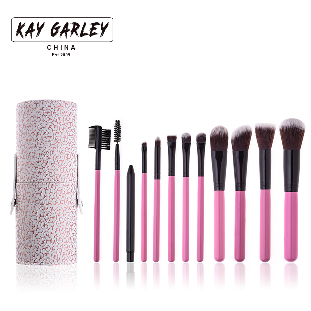 2017 amazon top selling 12pcs cosmetic brush set color pink with boutique texture pu leather brush kit high quality manufacturer