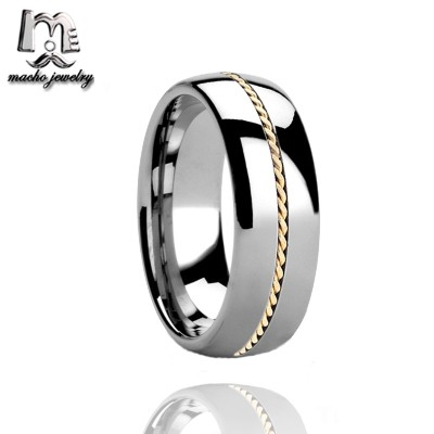 High Quality beautiful GOLD chain inlay tungsten wedding rings for man and women