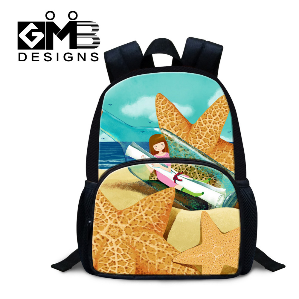 9 Inch Mini Kids School Bags Girl and starfish Illustration Small Backpack For Children Mochila Kindergarten Casual Shoulder Bag