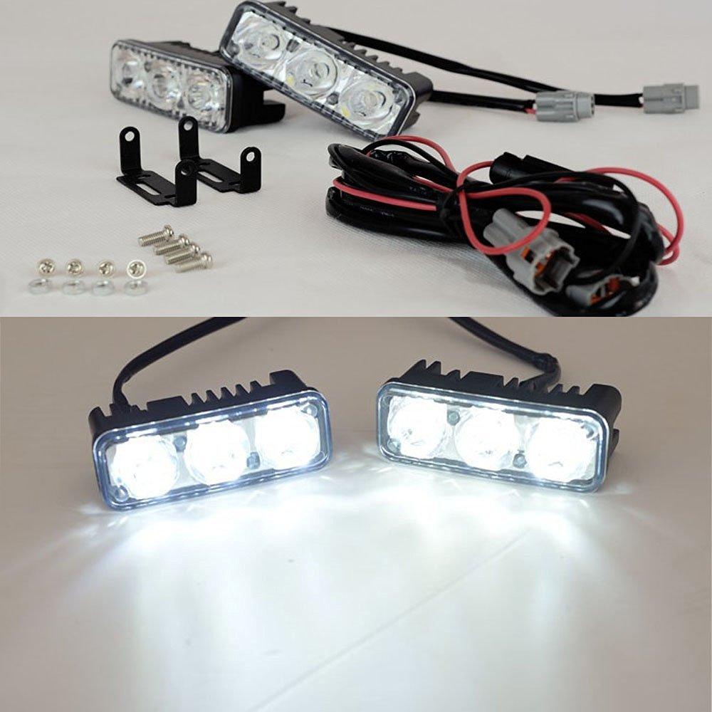 Eaglerich High Power 2Pcs/Set 6 Led 9W Universal Car Light Source Waterproof DC12V DRL Daytime Running Light Auto Lamp White